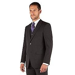 Jeff Banks - Charcoal plain weave regular fit 2 button travel suit