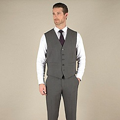 Stvdio by Jeff Banks - Charcoal mohair look regular fit 5 button waistcoat