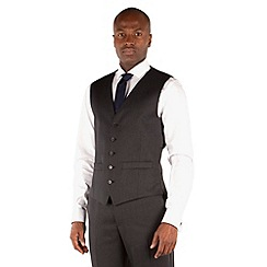 Racing Green - Charcoal twill regular fit 5 button waistcoat