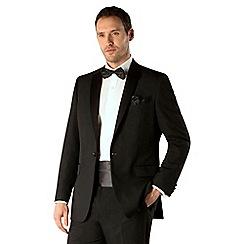 Occasions - Black plain weave regular fit 1 button dresswear suit