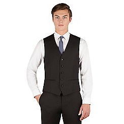 Red Herring - Black plain weave 5 button slim fit suit waistcoat