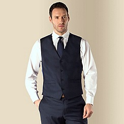 J by Jasper Conran - Dark blue sharkskin tailored fit 4 button waistcoat