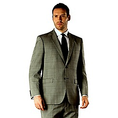 Racing Green - Grey check regular fit 2 button suit jacket