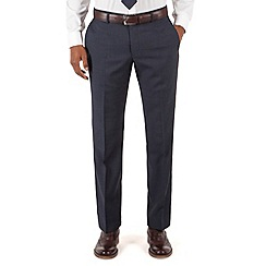 Racing Green - Blue check plain front tailored fit suit trouser