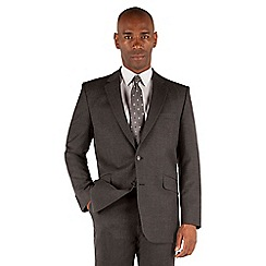 Centaur Big & Tall - Grey flannel 2 button front big and tall regular fit suit jacket