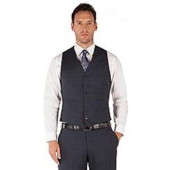 Jeff Banks - Blue check 6 button frontR fit black label suit waistcoat