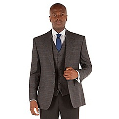 Stvdio by Jeff Banks - Grey blue mustard check 2 button front tailored fit ivy league jacket