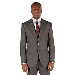 Stvdio by Jeff Banks - Grey plain jaspe 2 button front tailored fit ivy league suit