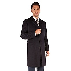 Karl Jackson - Navy melton tailored fit overcoat