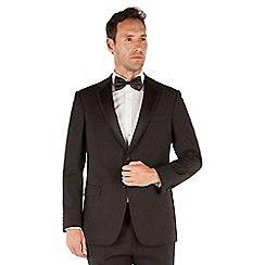 Jeff Banks - Black plain 2 button front regular fit dinner suit