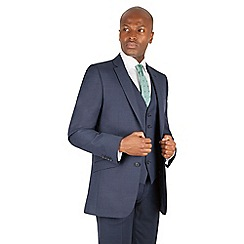 Racing Green - Blue pick and pick tailored fit 2 button suit jacket