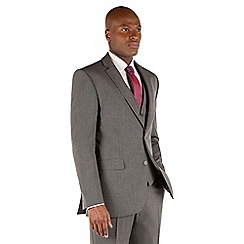Thomas Nash - Grey semi plain 2 button tailored fit suit jacket
