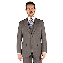 Jeff Banks - Grey pick and pick 2 button front regular fit travel suit jacket