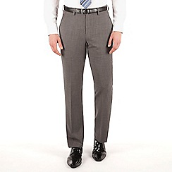Jeff Banks - Grey pick and pick plain front regular fit travel suit trouser