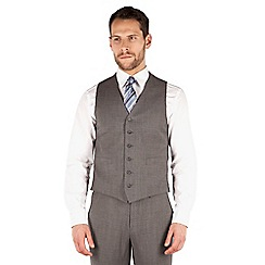 Jeff Banks - Grey pick and pick 6 button front regular fit travel suit waistcoat