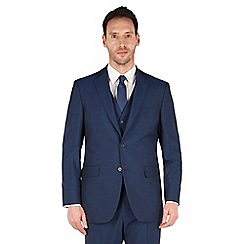 Karl Jackson - Blue panama 2 button front regular fit washable suit jacket