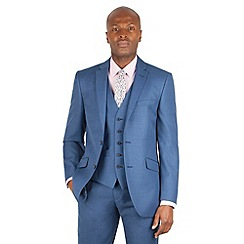 Racing Green - Bright blue pick and pick tailored fit 2 button suit jacket