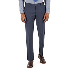 Racing Green - Deep blue tonal check tailored fit suit trouser