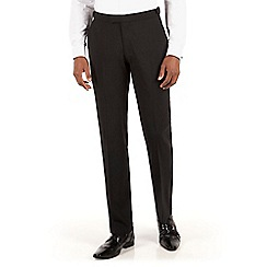 Racing Green - Black plain weave tailored fit dress wear trousers