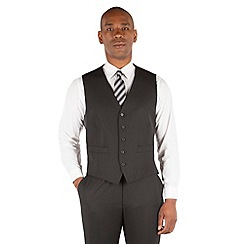 Centaur Big & Tall - Plain black twill 5 button front suit waistcoat