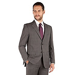 Jeff Banks - Grey with burgandy overcheck 3 button front regular fit black label suit