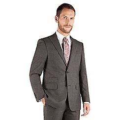 Jeff Banks - Jeff Banks Grey windowpane check 2 button front regular fit black label suit