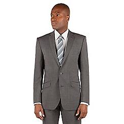 Ben Sherman - Ben Sherman Grey textured plain 2 button front slim fit kings suit jacket