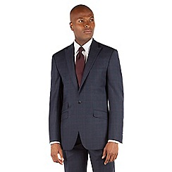 Ben Sherman - Navy flannel check 1 button front slim fit kings suit