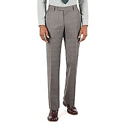 Racing Green - Racing Green Grey with oatmeal overcheck tailored fit suit trouser