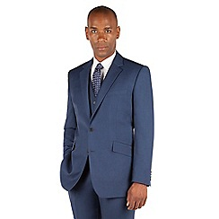 Centaur Big & Tall - Bright blue pick and pick big and tall 2 button front regular fit suit jacket