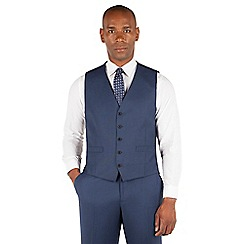Centaur Big & Tall - Bright blue pick and pick 5 button front suit waistcoat