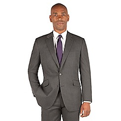 Centaur Big & Tall - Charcoal semi plain big and tall 2 button regular fit suit jacket