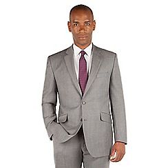 Centaur Big & Tall - Grey textured semi plain big and tall 2 button front regular fit suit jacket