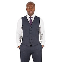 Hammond & Co. by Patrick Grant - Blue tonal check 6 button tailored fit suit waistcoat