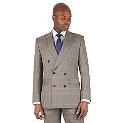 46497_0042747SB: Grey with caramel check double breasted front savile row suit