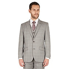 J by Jasper Conran - Grey check 2 button front tailored fit occasions suit jacket