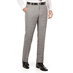 J by Jasper Conran - Grey check flat front tailored fit occasions suit trousers