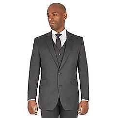 Centaur Big & Tall - Charcoal semi plain big and tall 2 button regular fit suit
