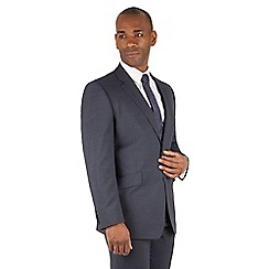 Centaur Big & Tall - Slate blue puppytooth big and tall 2 button front regular fit suit jacket