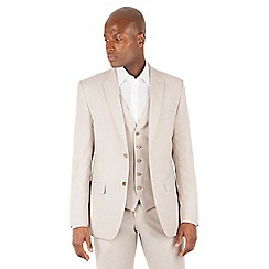 Racing Green - Oatmeal linen tailored fit 2 button suit jacket