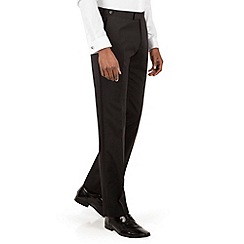 Racing Green - Black plain weave tailored fit dresswear trousers