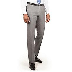 Ben Sherman - Light grey textured plain front slim fit kings suit trouser