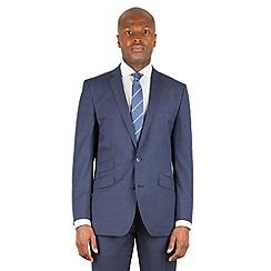 Ben Sherman - Blue tonal check 2 button front slim fit kings suit jacket