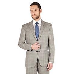 Jeff Banks - Jeff Banks Grey heritage check 2 button front regular fit luxury suit jacket