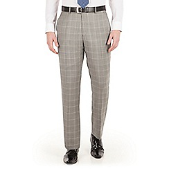 Jeff Banks - Jeff Banks Grey heritage check plain front regular fit luxury suit trousers
