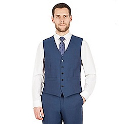 The Collection - Blue panama 5 button regular fit washable waistcoat