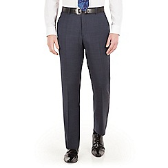 Jeff Banks - Blue with pink overcheck check regular fit black label suit trouser