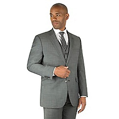 Centaur Big & Tall - Charcoal pindot big and tall 2 button front regular fit suit jacket