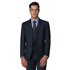 Racing Green - Deep Blue Pick and Pick Tailored Fit 2 Button Suit Jacket