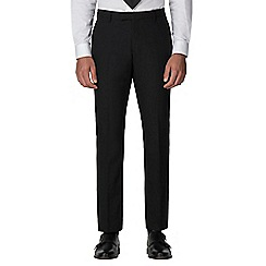 Racing Green - Black plain twill tailored fit suit trousers